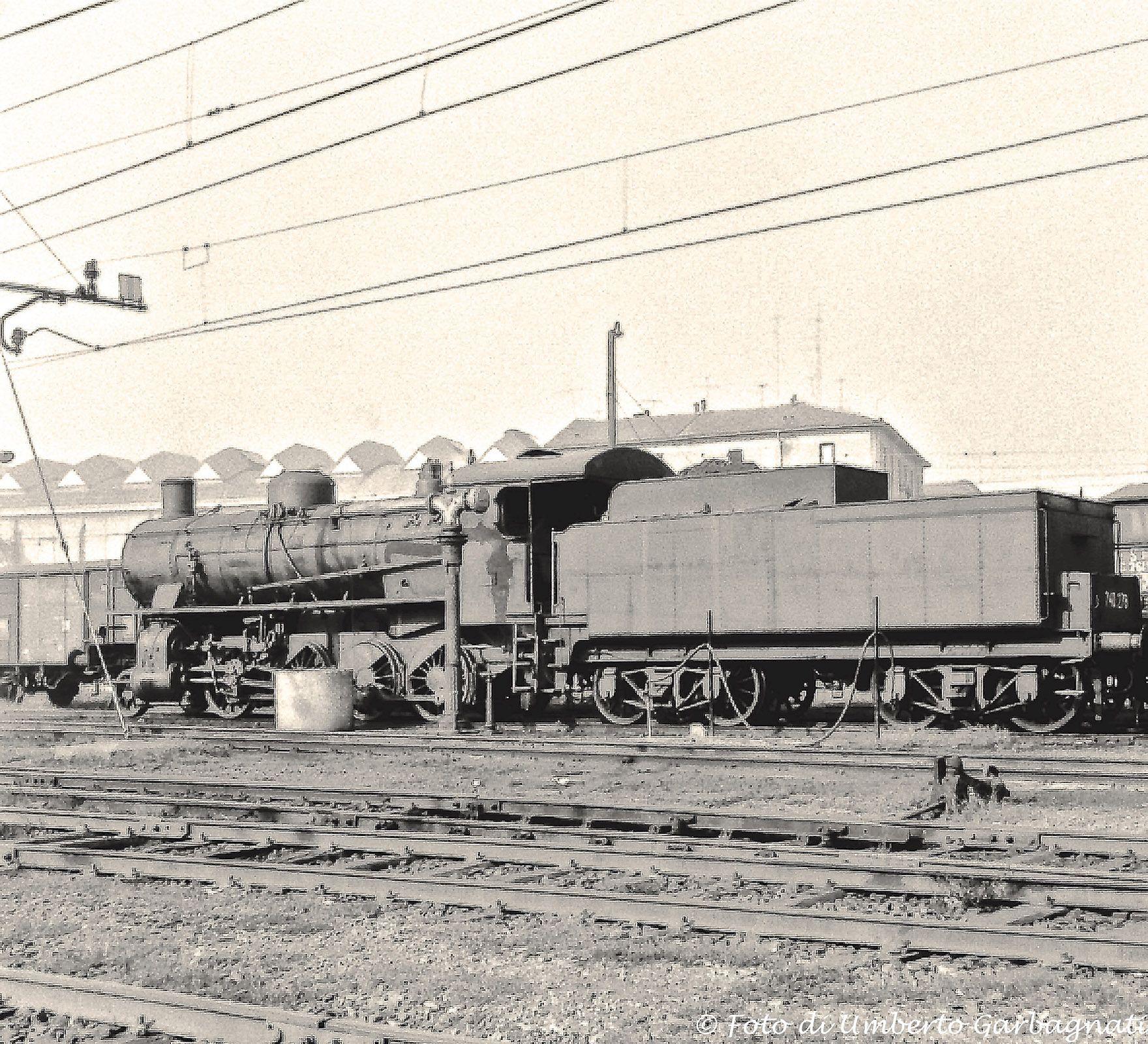 Locomotiva a vapore  FS-740.278 - Deposito lok. di Milano-Greco  (I)  -  24 ott 1965  -               - © Umberto Garbagnati -