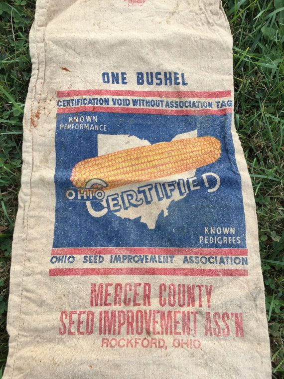 Vintage Seed Sack Ohio Certified Corn Heavy Cotton by AStringorTwo