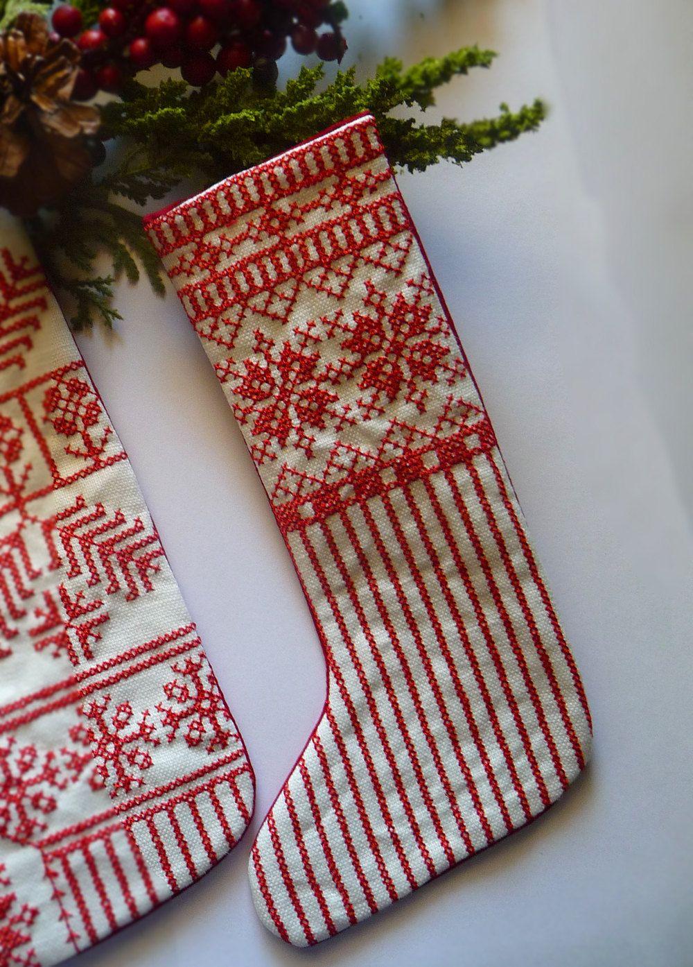 Embroidered Christmas Stockings.Nordic Redwork Folkart Embroidered Linen Scandinavian