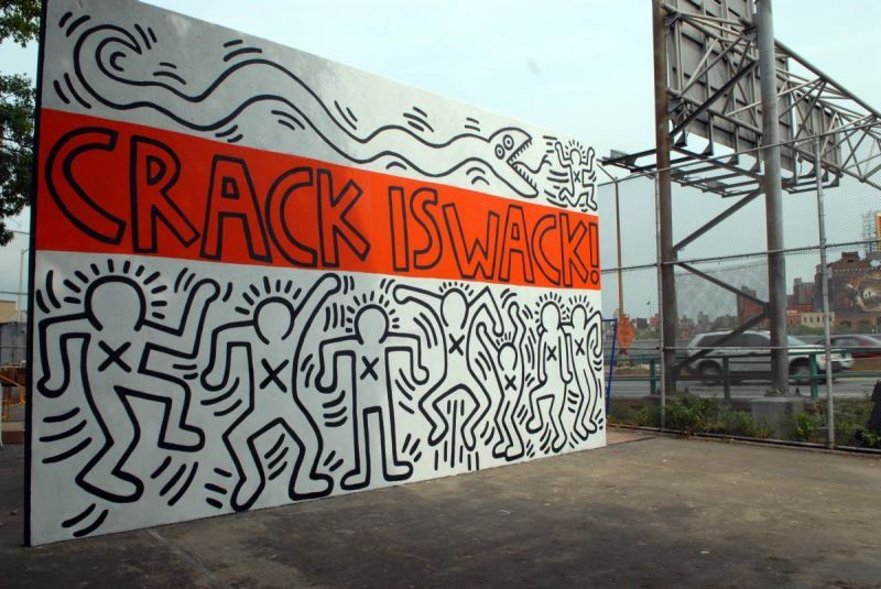 Keith haring crack is wack mural in 1986 on the handball for Crack is wack keith haring mural