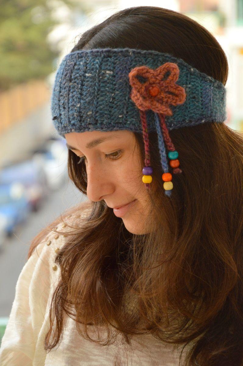 Cinta de cabello de crochet estilo hippy esquemas - Diademas de ganchillo ...