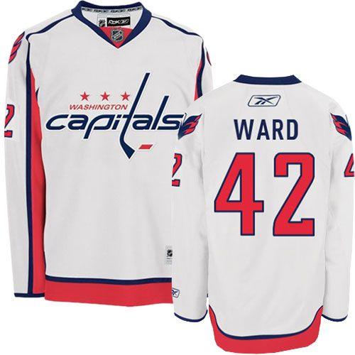 Authentic Joel Ward White Men's NHL Jersey: #42 Washington Capitals Reebok  Away