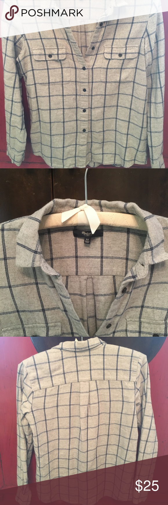 Flannel shirt xs  Madewell Button Down Flannel Shirt Size XS  Madewell Flannel