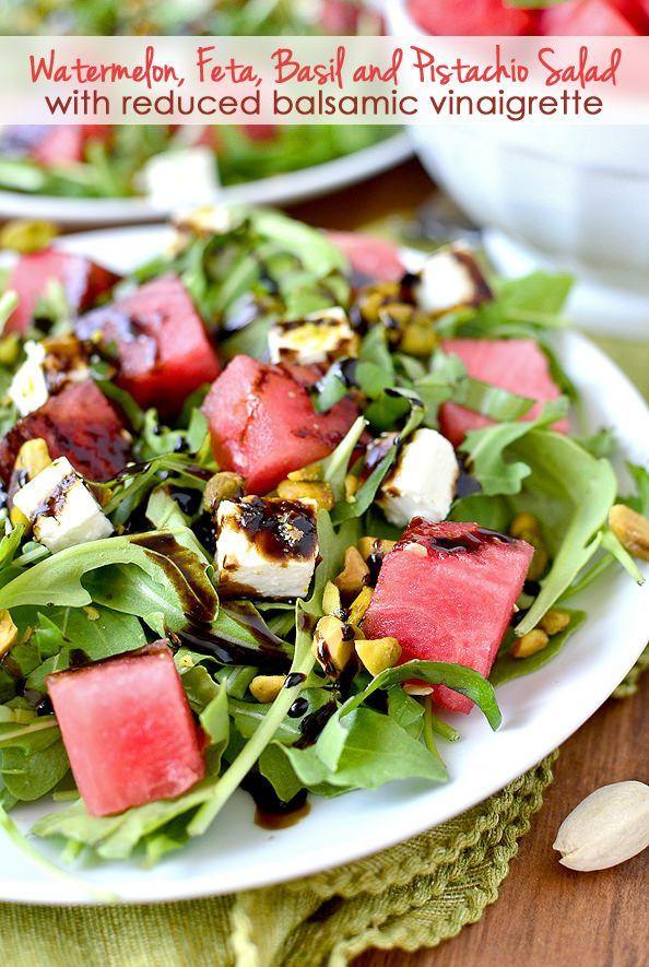 Watermelon, Feta and Pistachio Salad with Reduced Balsamic Vinaigrette   iowagirleats.com