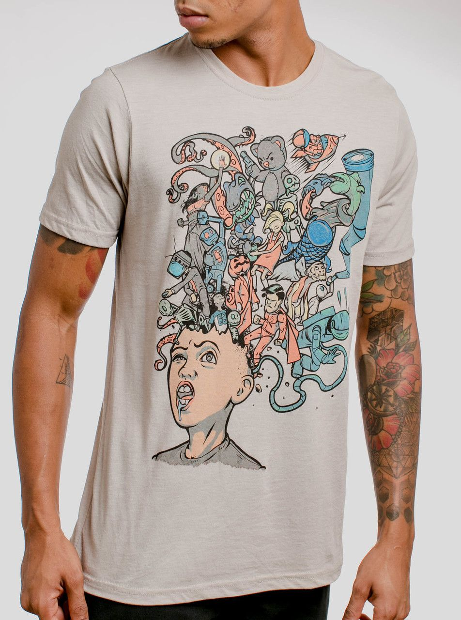 dbe9414e Mind Blown - Multicolor on Heather White Triblend Mens T Shirt | For ...