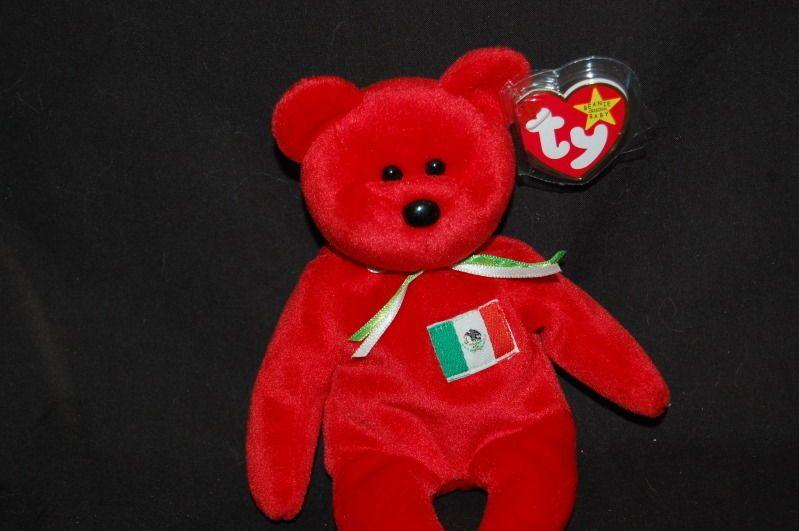 ec9aab66cec ORIGINAL TY BEANIE BABY PLUSH MEXICO FLAG RED OSITO BEAR 1999 EAR TAG  Ty