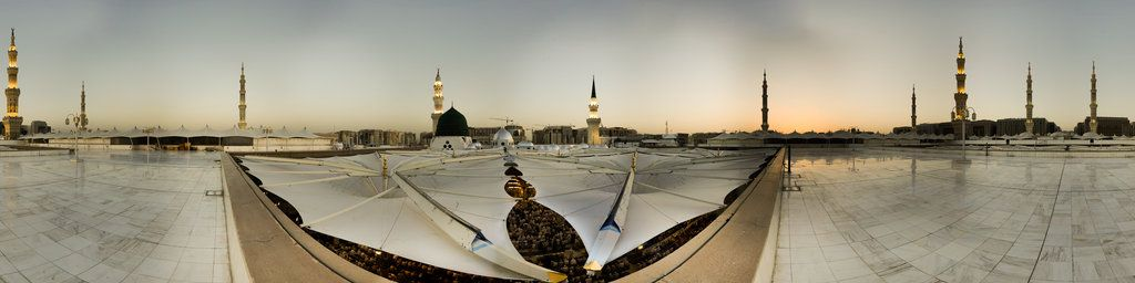 An overview from the roof of the Prophet's Mosque, in Madinah at Saudi Arabia, over the first Haswah. This virtual picture was taken by the team of King Fahd Glorious Quran Printing Complex in the year 2010