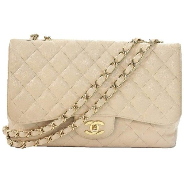 Pre-owned Chanel Jumbo Flap Caviar Gold Cc Shoulder Bag ($4,920) ❤ liked on Polyvore featuring bags, handbags, shoulder bags, clutches, beige, long shoulder bags, chain strap handbag, chain strap purse, long strap purse and shoulder strap bags