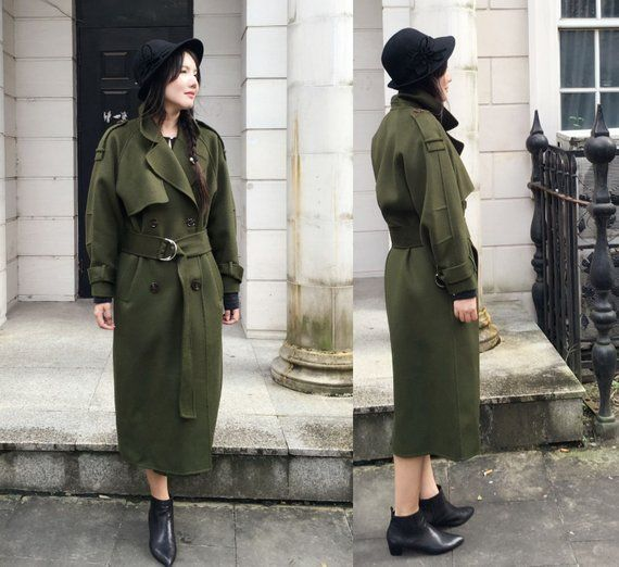 2d535850294 Military Style Coat/ Double- Faced Cashmere and Wool Blend Long Jacket with  Belt / Wide-lapel Trench