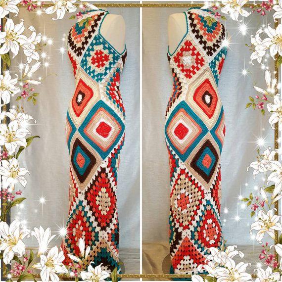 Womens Crochet Granny Square Maxi Hippie Vintage Dress | Fabric ...
