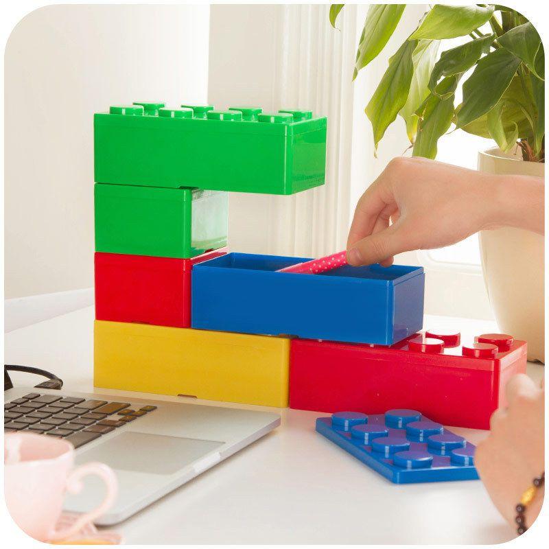 Vanzlife creatieve bouwstenen bovenop de desktop opbergdozen, vrouwen cosmetica dozen, kantoorbenodigdheden doos