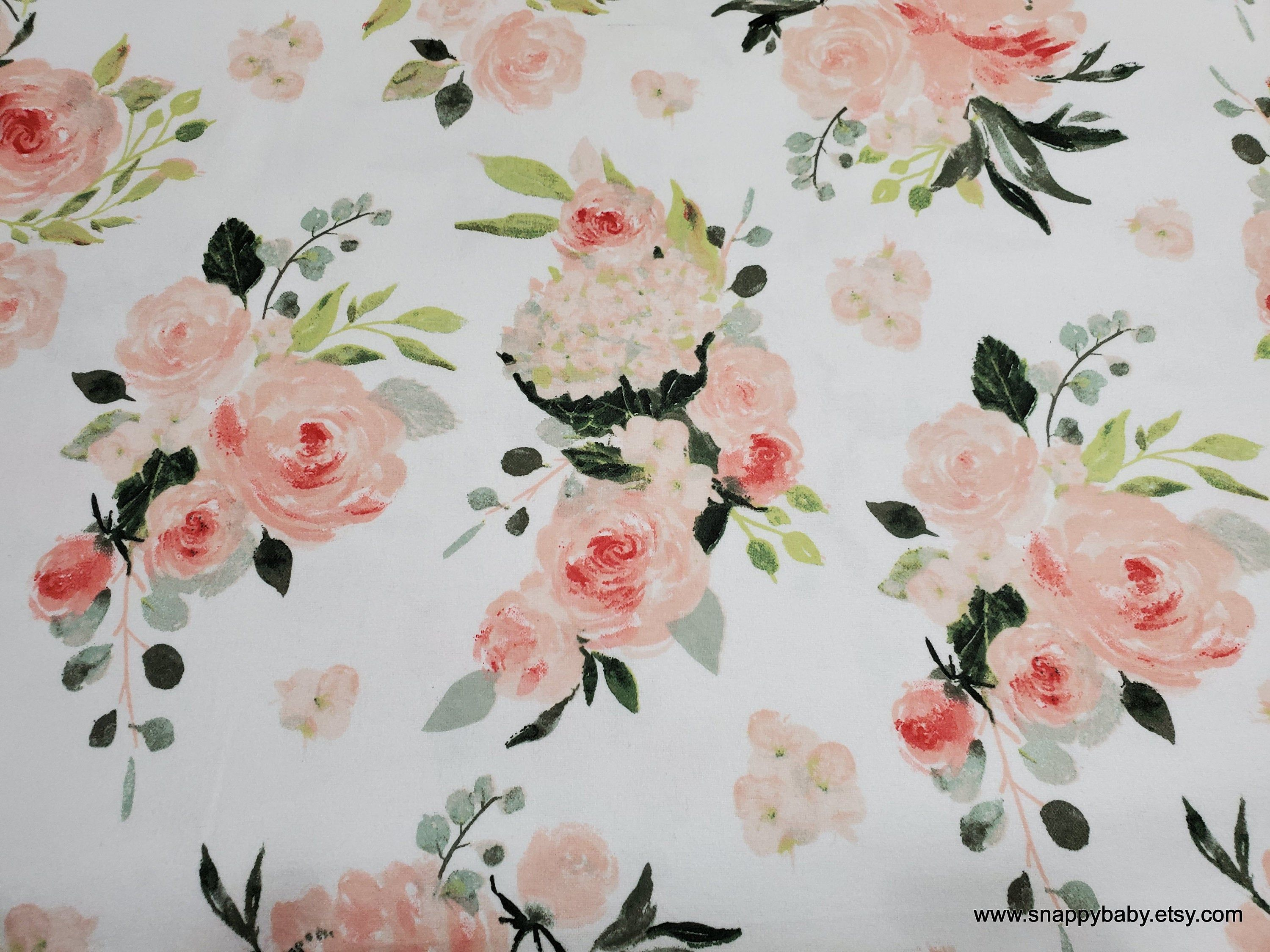 Flannel Fabric Coral White Floral By The Yard 100 Cotton Flannel In 2020 Flannel Fabric Cotton Flannel Fabric