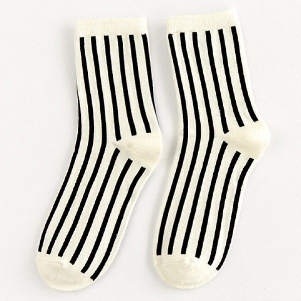 be4226495 Pair of Chic Black Vertical Stripes Pattern Socks For Women ...
