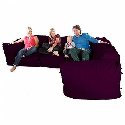 Modular Corner Sofa Bean Bags 7pc Deluxe Set