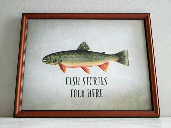 Vintage Framed Fishing Print  Trout Fishing by GoldenDaysDesigns, $30.00