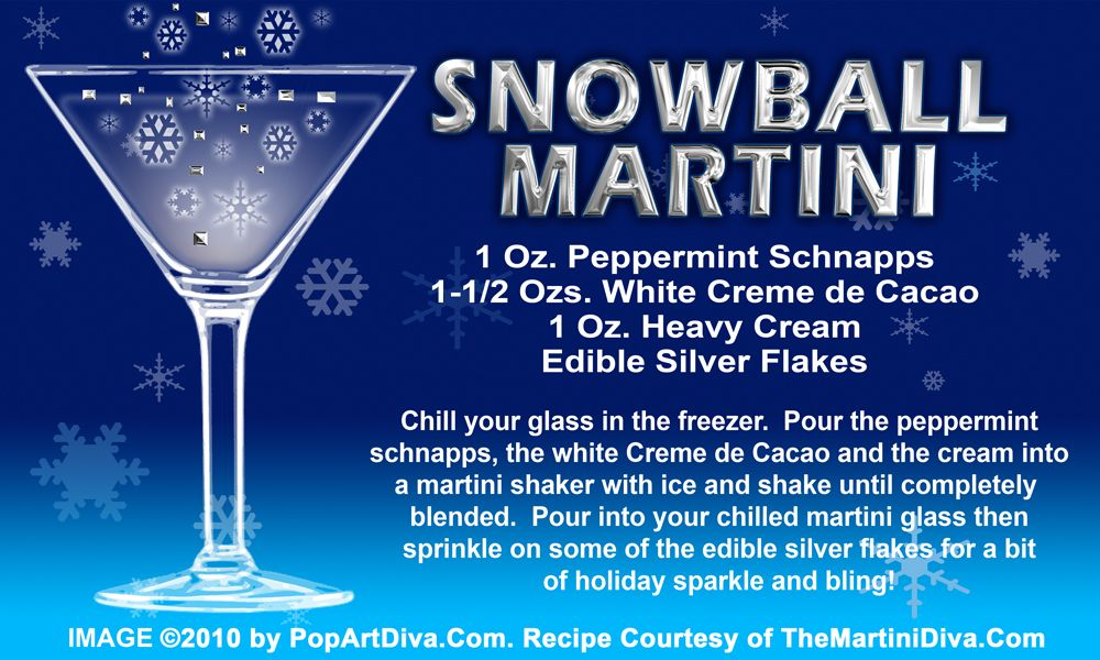 SNOWBALL CHRISTMAS MARTINI RECIPE On A Free Recipe Card   Click The Image  For The Full