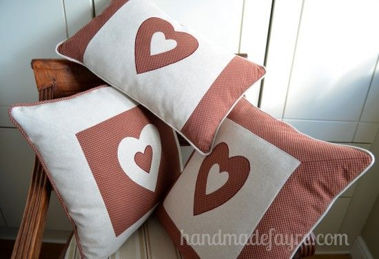 Gingham Heart Cushions