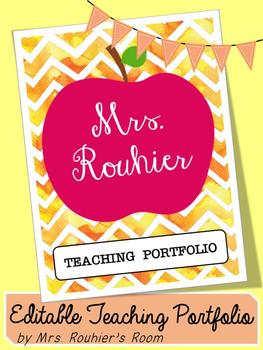 Editable Teaching Portfolio Template Golden Chevron Teaching