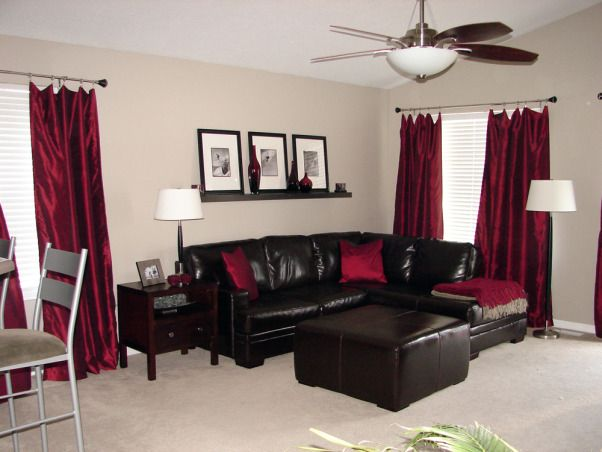 Red Contemporary | Red Living Room Decor, Brown Couch Living Room, Burgundy Living Room