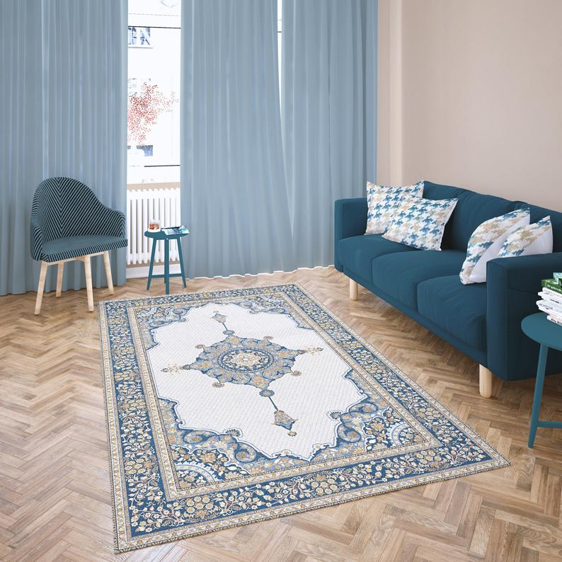 Vintage Oriental Ivory and Blue Area Rug, Stylish Central ...