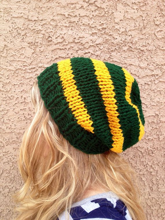 Dark Green and Gold Slouch Beanie for Men or Women Knit Striped Hat ...