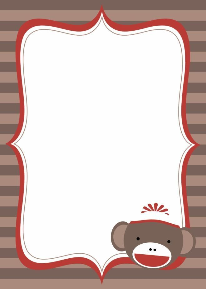 Sock Monkey Baby Shower Invitation Blank  Sock Monkey