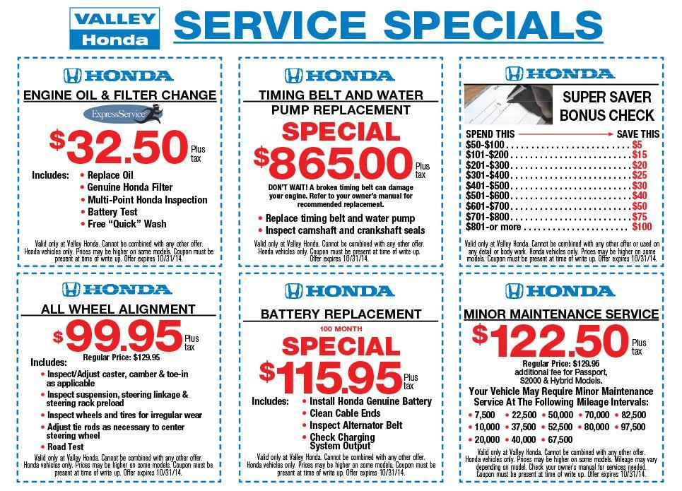 Service Specials Coupons October Car Oil Change Oil Change Honda Service