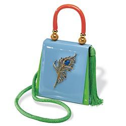 Jeweled Peacock feather patent leather purse