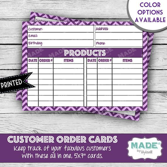 Younique Inspired Customer Orders Cards Customer Tracking