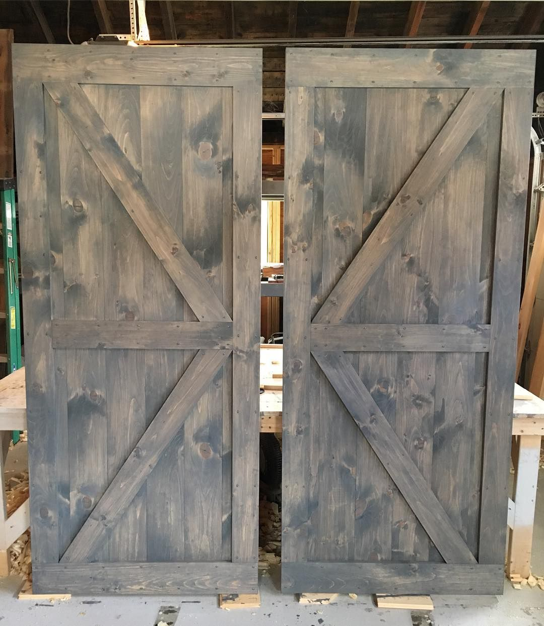 another pair of british brace barn doors with classic grey stain a perfect combo