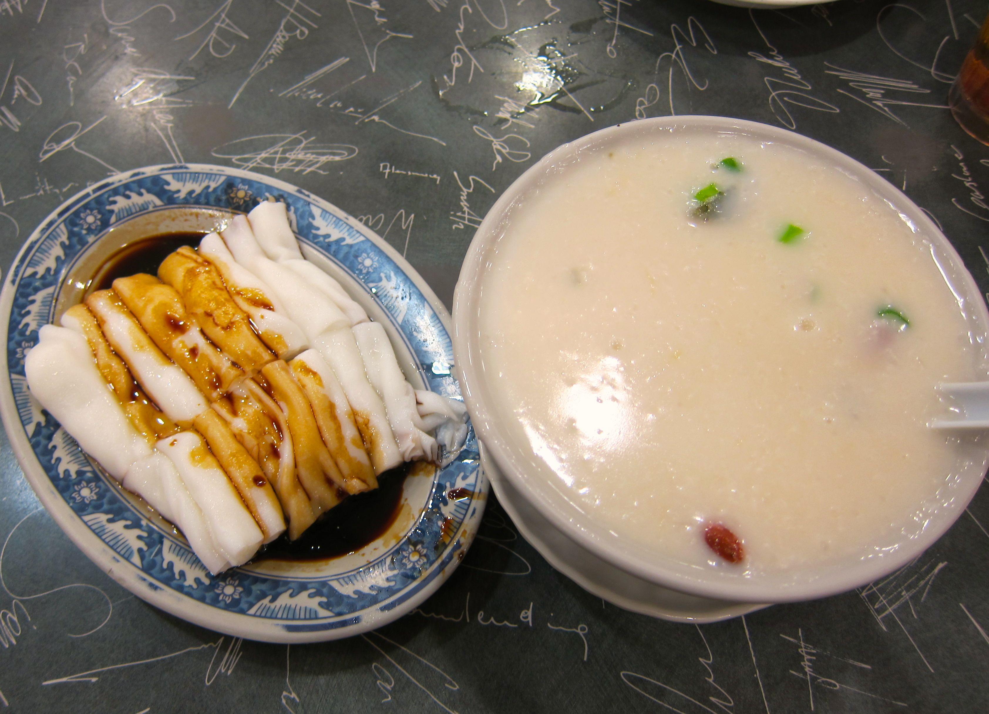 Sea bass congee and chee cheong fun.  #Hongkong