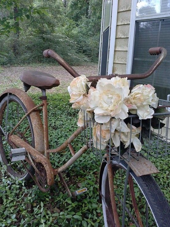 Rusty Bike Garden Decor Restore Me Furnishings With Images
