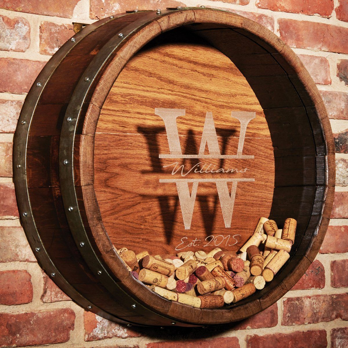 Personalized Reclaimed Wine Barrel Head Cork Collectors Display Initial Name And Year Script Wine Barrel Table Wine Barrel Crafts Wine Barrel Decor