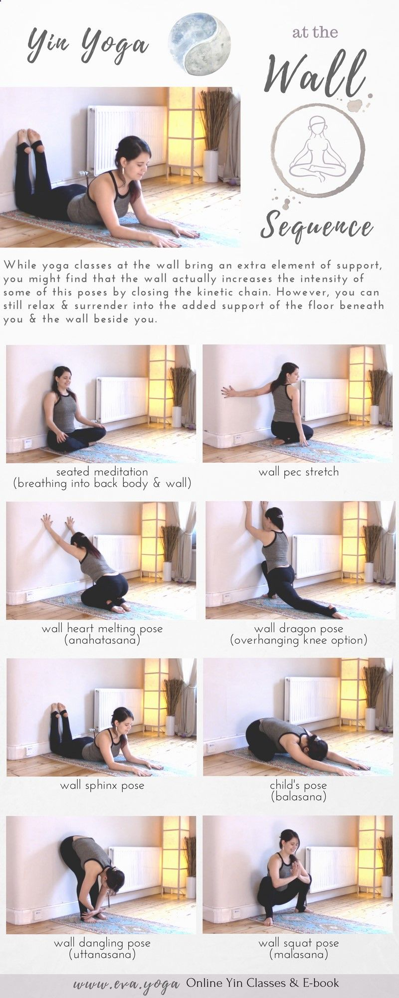 Yin Yoga Sequence Using The Wall