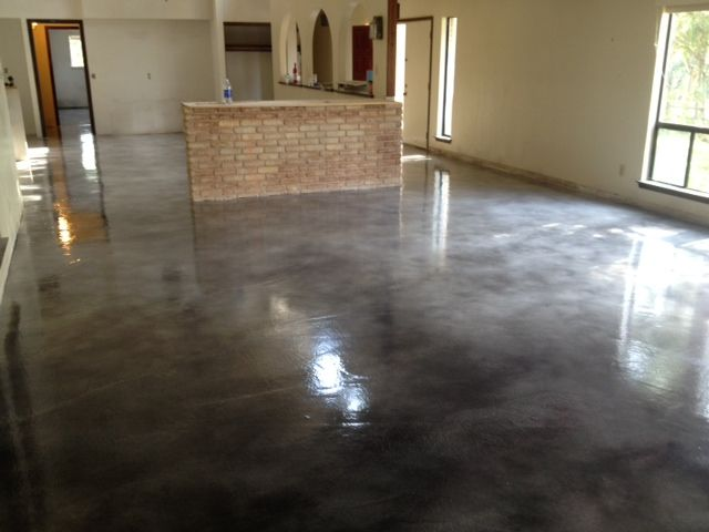 Gray Brown Stained Concrete Floors Grey Stain After Floor