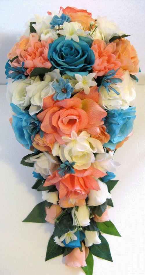 Wedding silk flower bouquet bridal cascade coral peach turquoise wedding silk flower bouquet bridal cascade coral peach turquoise aqua blue 17 piece package flowers bouquets centerpieces rosesanddreams mightylinksfo