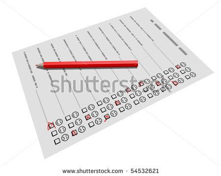 Pencil laying on a customer satisfaction survey form, referring to - satisfaction survey