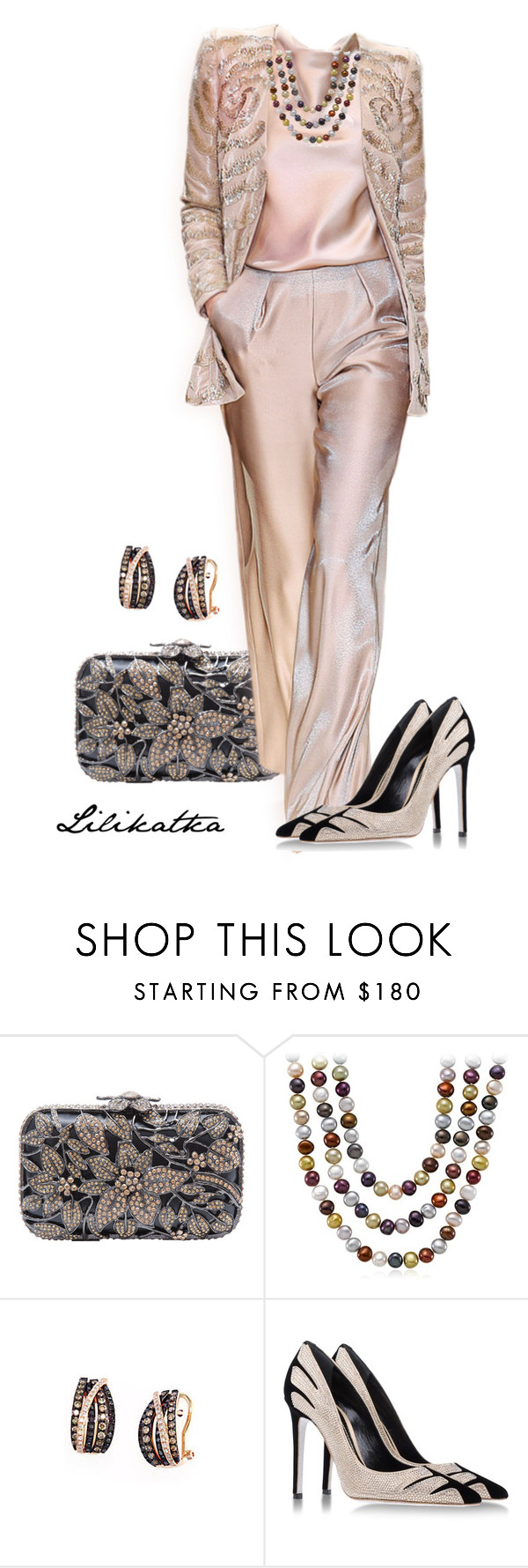 """Pivonka#897"" by lilikatka ❤ liked on Polyvore featuring Armani Privé, Blue Nile, Lord & Taylor and René Caovilla"