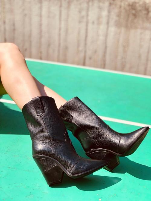 Stivali Texani Alti Neri con Puntale in Acciaio Made in