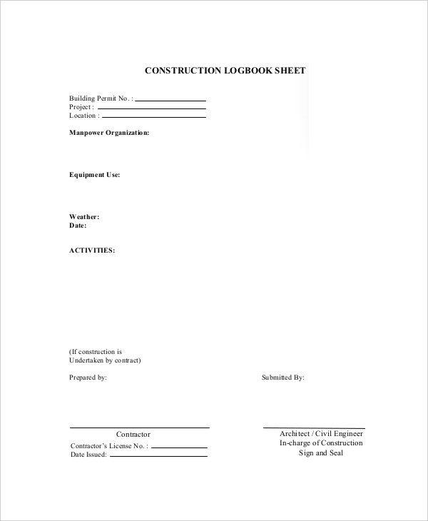 Log Book Templates 16+ Free Printable Word, Excel  PDF