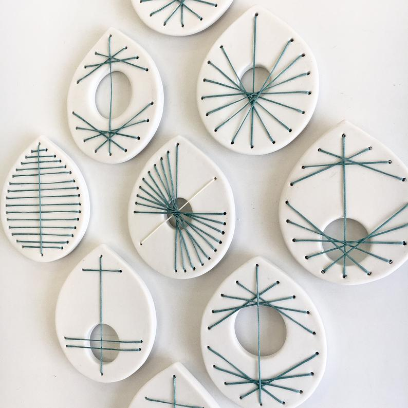 Original abstract wall art sculpture Hand stitched porcelain ceramic with metal wire Set of 9 unique geometric white & green artworks OOAK