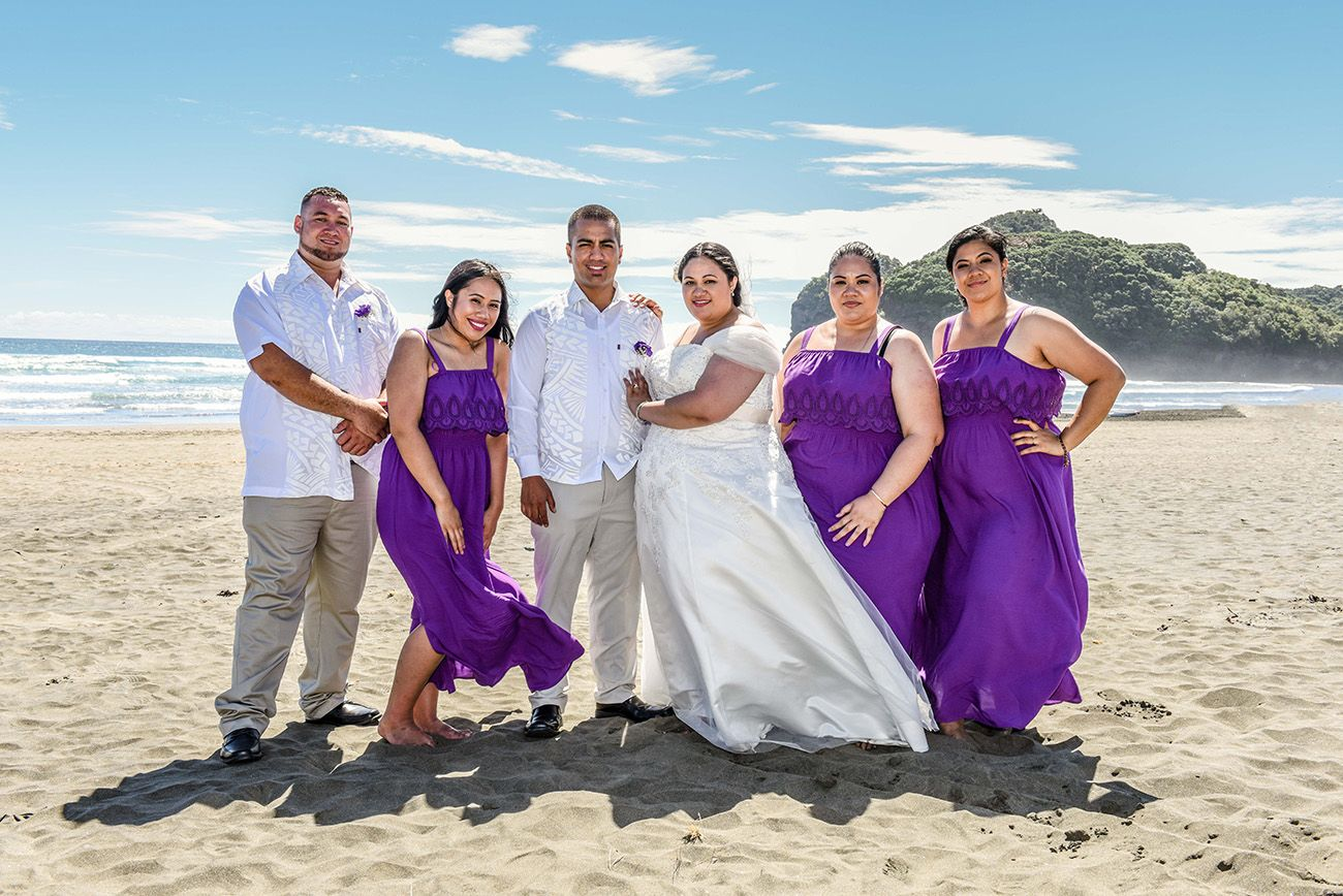 Purple dresses for the bridesmaid and white shirt with samoan ...