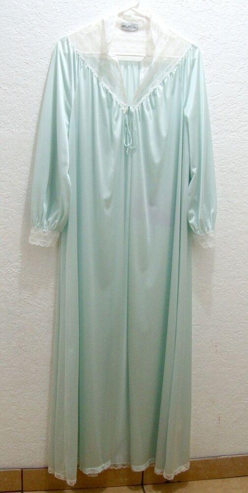 2968c1b21fd7 Vintage Miss Elaine Robe Lace Slinky 80s Seafoam Green Nylon Long Lingerie  Small #MissElaine