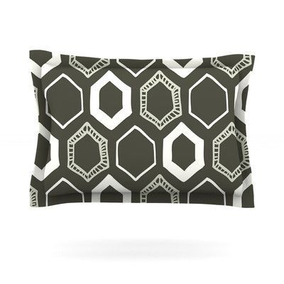 KESS InHouse Hexy by Laurie Baars Woven Pillow Sham Size: Queen, Color: Brown