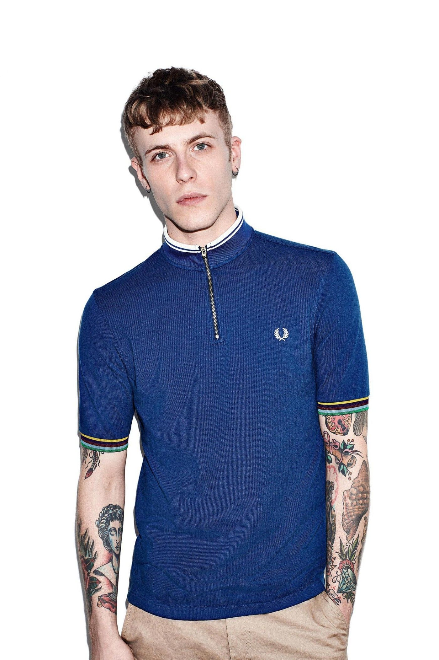 Fred Perry - Bradley Wiggins Tipped Cycling Shirt Persian Blue ... 9aeed4ff4859