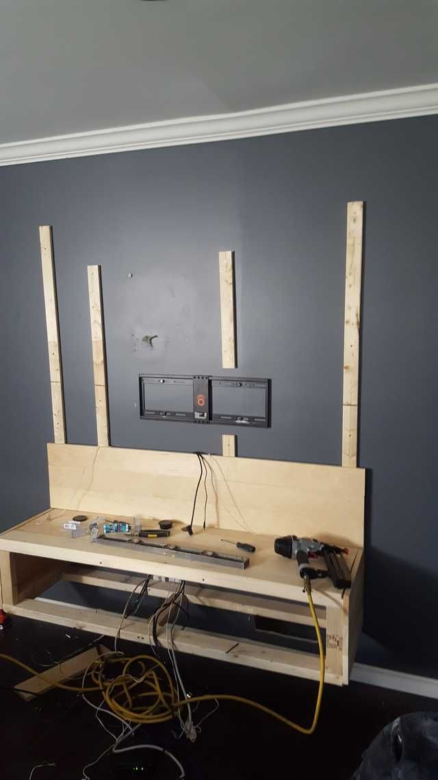62 Best Tv Unit Images On Pinterest: DIY Floating Entertainment Unit And Wall Covering