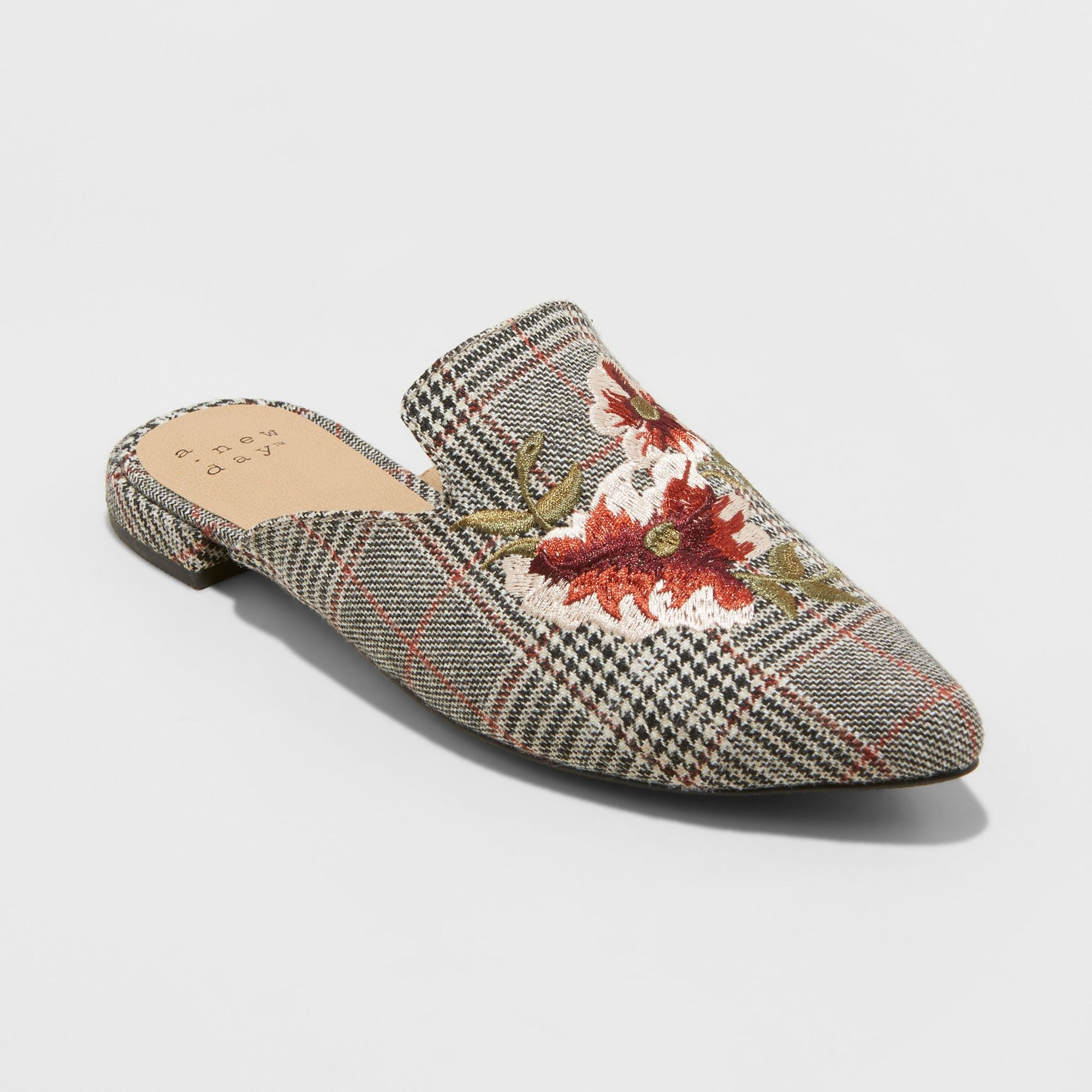 2422ffe0969 Women s Eve Plaid Embroidered Backless Mules - A New Day Gray 6 ...