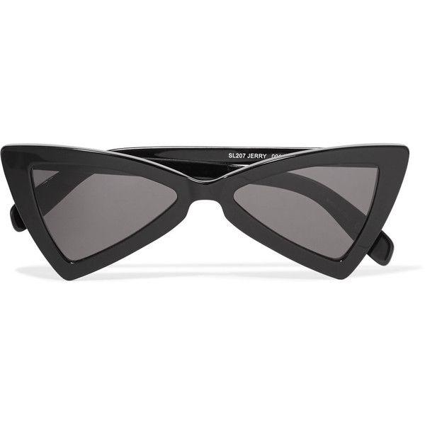 9c74594aff Saint Laurent Saint Laurent - Jerry Cat-eye Acetate Sunglasses - Black  ( 370) ❤ liked on Polyvore featuring accessories