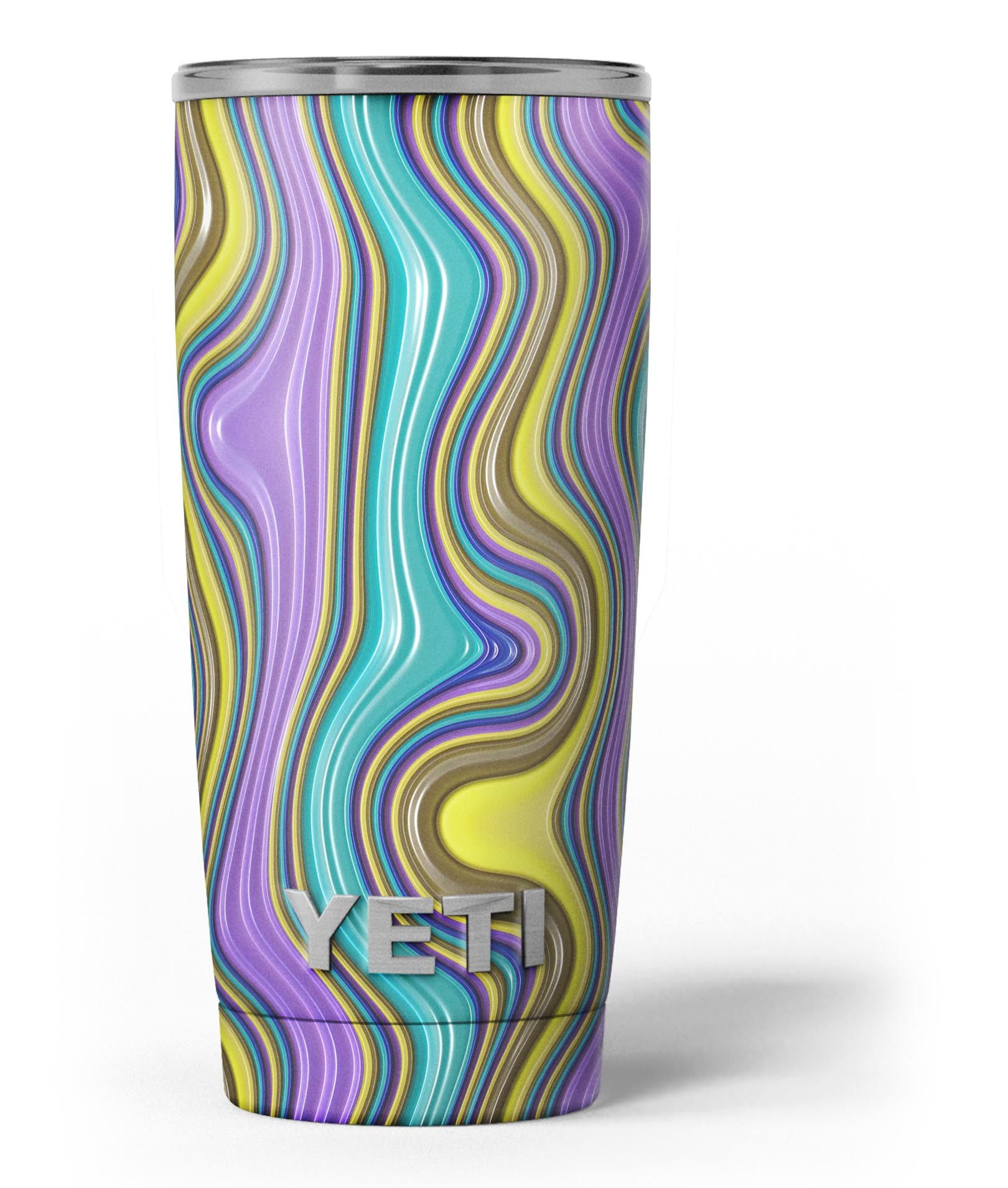 Bright purple teal and mustard yellow color waves skin