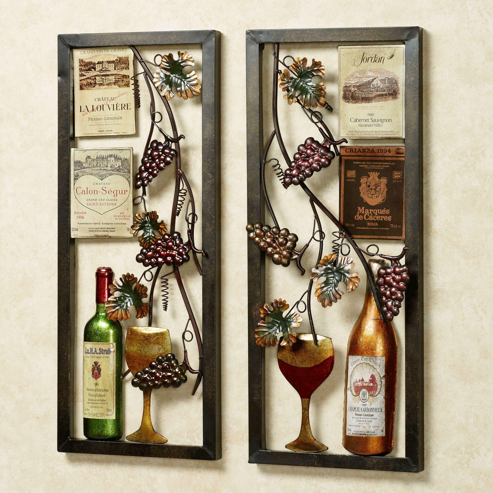Valley Vineyard Metal Wall Art Set Wine Decor Wall Art Sets And Kitchen Accessories